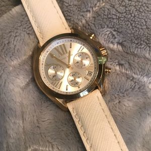 White leather banded Michael Kors watch